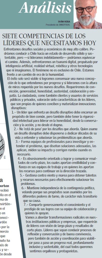 Columna Iván Vera INNSPIRAL en El Mercurio